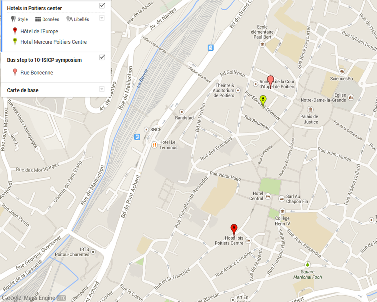Map 1 - Hotels in Poitiers center and bus stop to 10 ISICP symposium